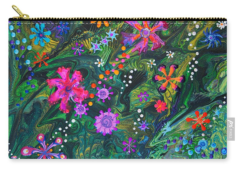 Flowers Floral Lush Tropical Organic Colorful Vibrant Dramatic Fun Carry-all Pouch featuring the painting Jungle Seduction 7022 B by Priscilla Batzell Expressionist Art Studio Gallery