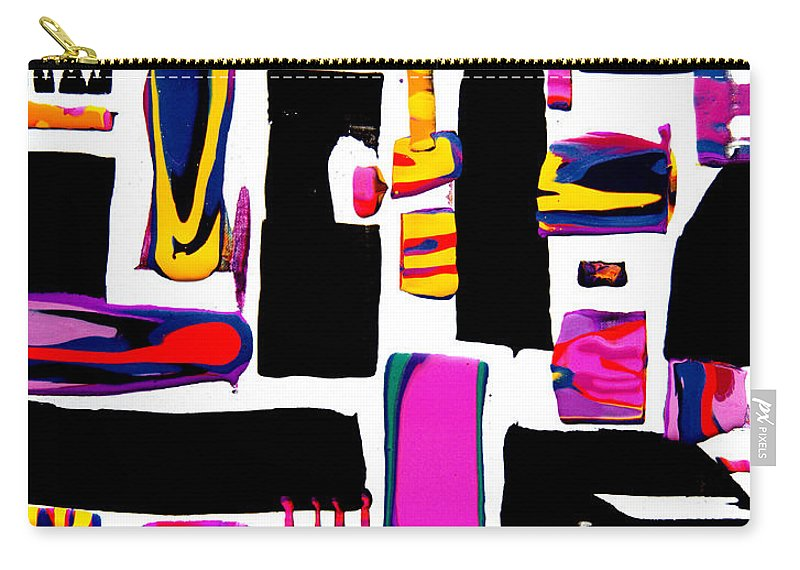 Colorful Happy Joyful Compelling Bright Vibrant Dramatic Geometric Blocky Carry-all Pouch featuring the painting Just For Fun #7342 by Priscilla Batzell Expressionist Art Studio Gallery