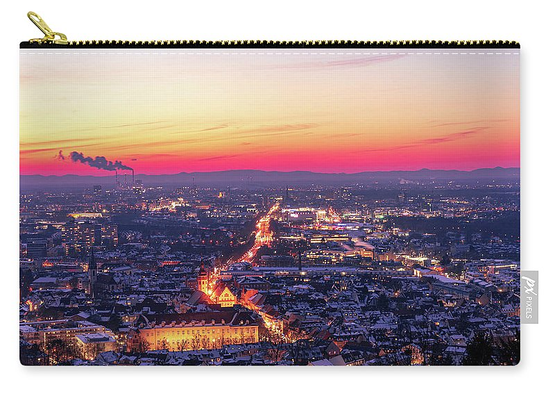 Karlsruhe Carry-all Pouch featuring the photograph Karlsruhe in winter at sunset by Hannes Roeckel