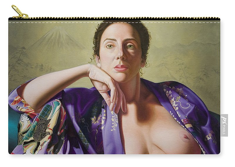 Purple Silk Kimono Carry-all Pouch featuring the painting Kimono by Gary Hernandez