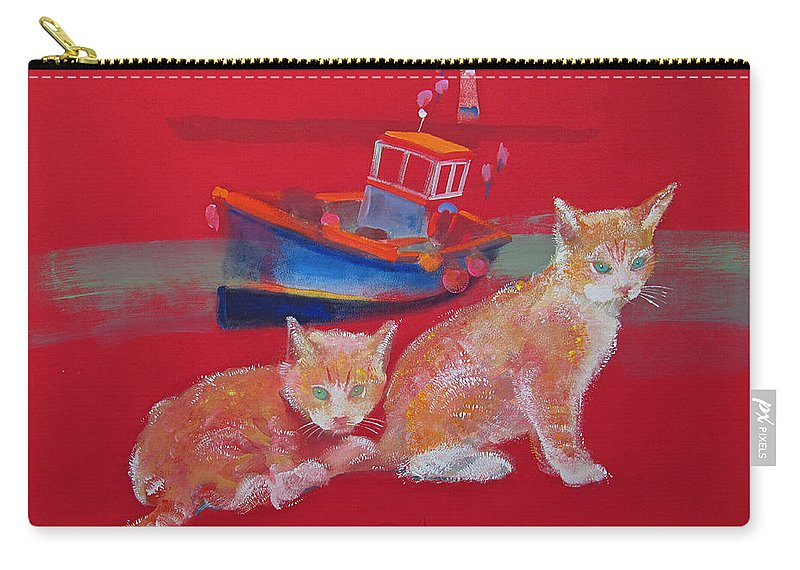 Kittens Carry-all Pouch featuring the painting Kittens With Boat by Charles Stuart
