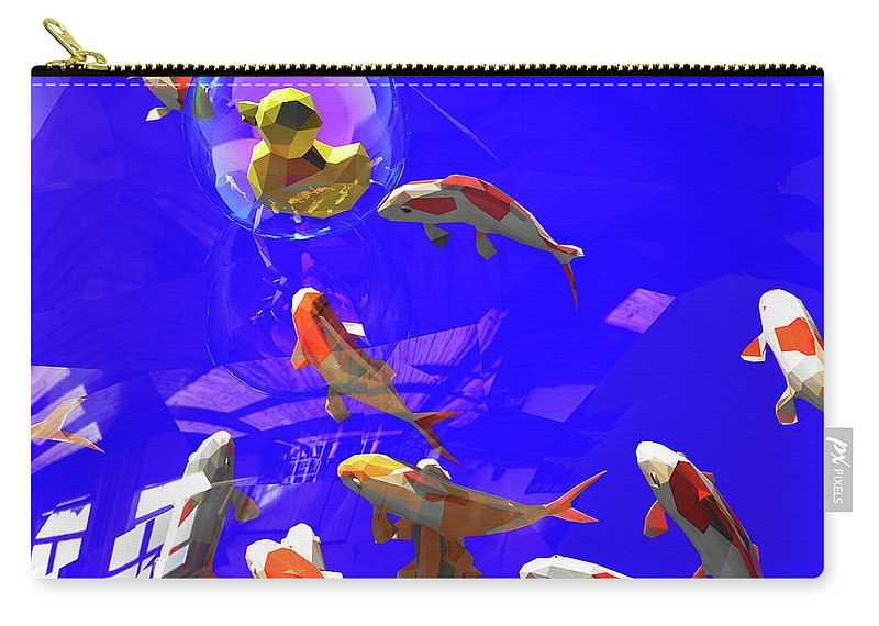 Koifish Carry-all Pouch featuring the digital art Koifish_and_Duckie by Heike Remy