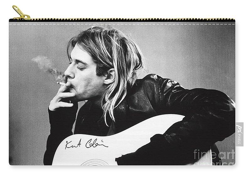 Kurt Cobain Carry-all Pouch featuring the photograph KURT COBAIN - SMOKING POSTER - 24x36 MUSIC GUITAR NIRVANA by Trindira A
