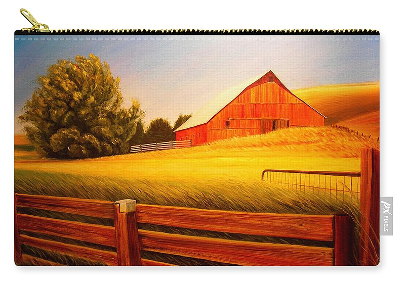 Wheat Carry-all Pouch featuring the painting La Crosse Barn by Leonard Heid