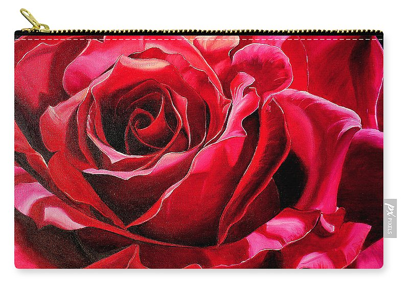 Rose Painting Carry-all Pouch featuring the painting Labelle Rose    by Karin Dawn Kelshall- Best