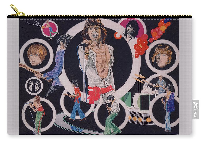 The Rolling Stones Carry-all Pouch featuring the drawing Ladies And Gentlemen - The Rolling Stones by Sean Connolly
