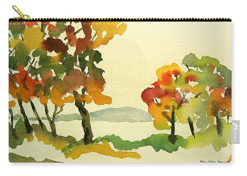 Landscape Carry-all Pouch featuring the painting Lake Study by Mary Ellen Mueller Legault