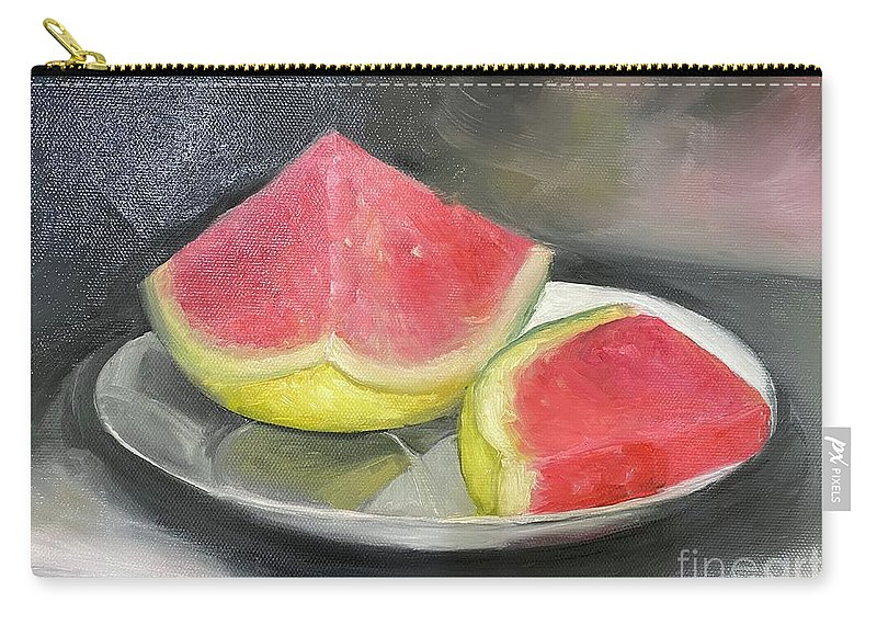 Watermelon Carry-all Pouch featuring the painting Last Slice of Summer by Sheila Mashaw