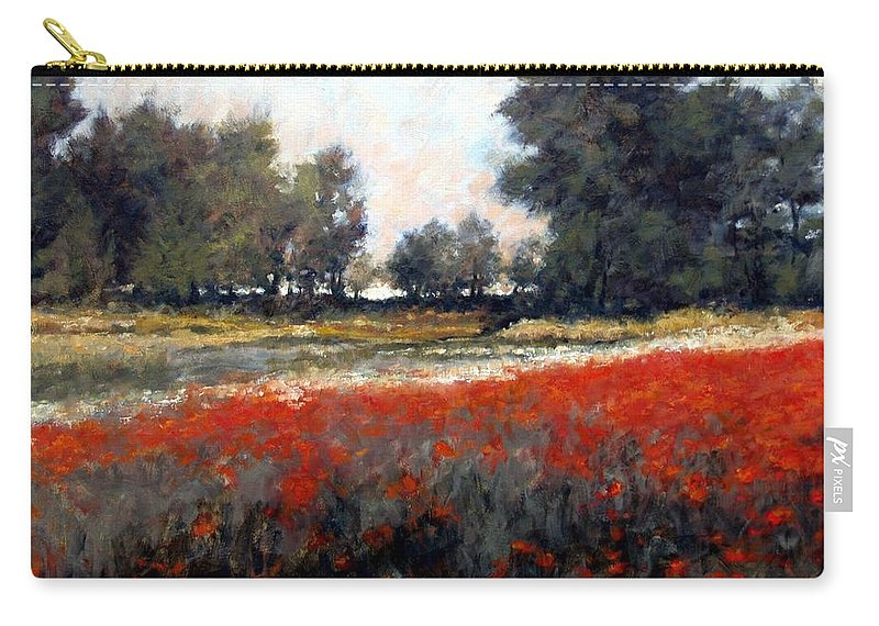 Landscape Carry-all Pouch featuring the painting The Red Field by Jim Gola