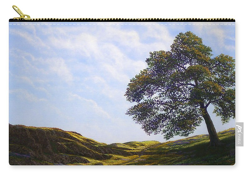 Landscape Carry-all Pouch featuring the painting Lava Rock And Flowers by Frank Wilson