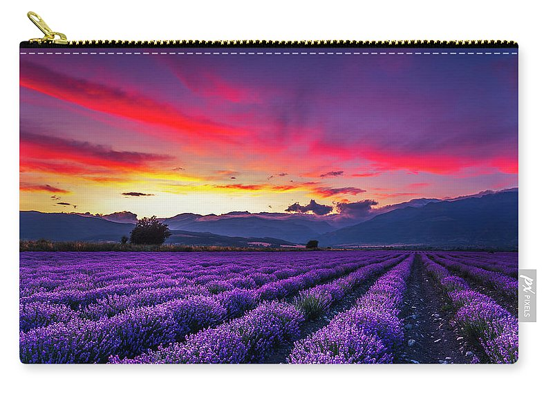 Dusk Carry-all Pouch featuring the photograph Lavender Season by Evgeni Dinev