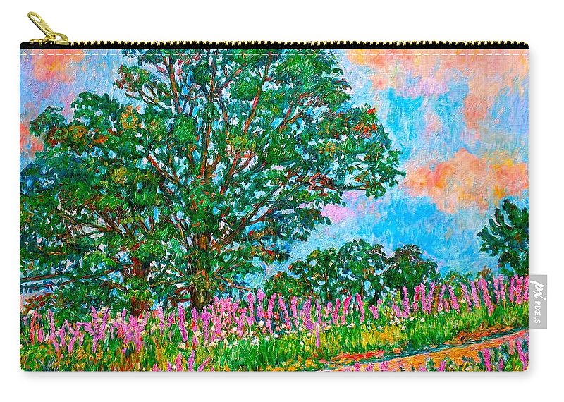 Landscape Carry-all Pouch featuring the painting Liatris Flowers at Doughton Park by Kendall Kessler