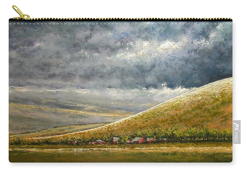 Landscape Carry-all Pouch featuring the painting Lightburst-Jackson Hole by Jim Gola