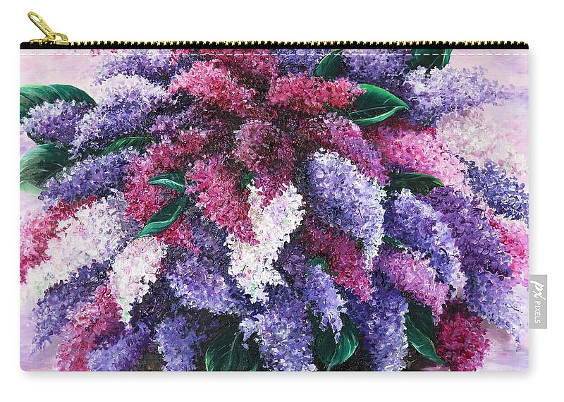 Lilacs Carry-all Pouch featuring the painting Lilac Time by Karin Dawn Kelshall- Best