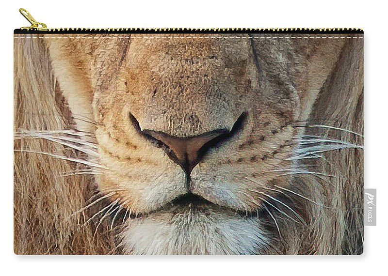 Lion Carry-all Pouch featuring the photograph Lion by Steven Sparks