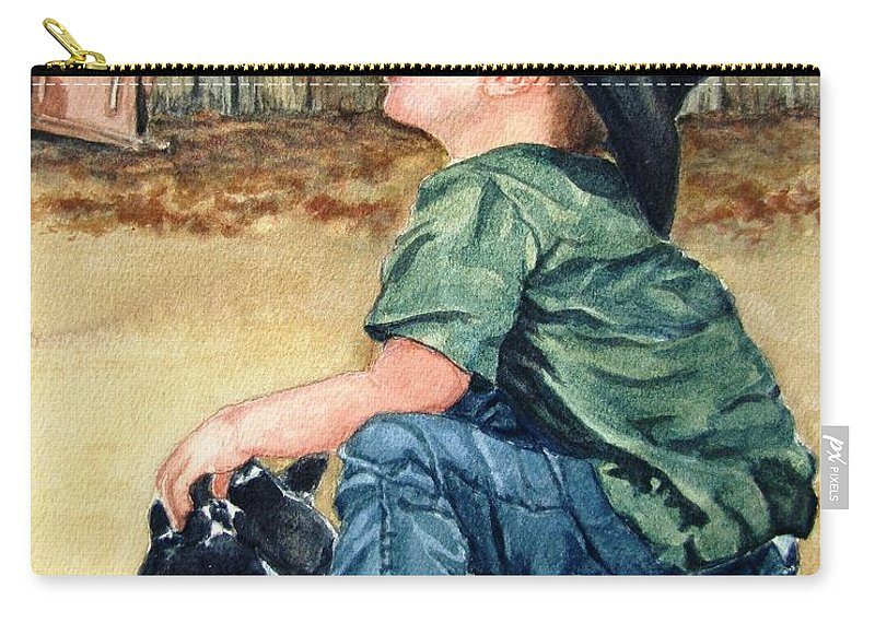 Children Carry-all Pouch featuring the painting Little Ranchhand by Karen Ilari