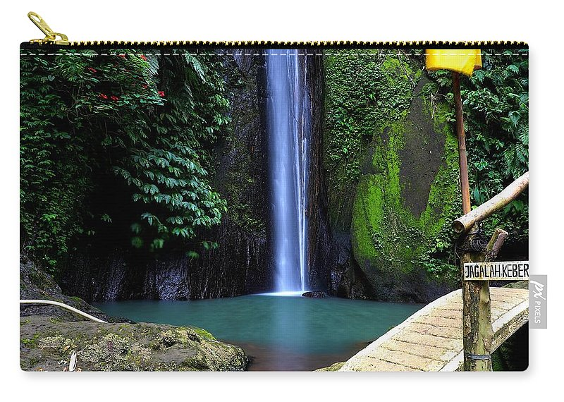 Waterfall Carry-all Pouch featuring the digital art Lonely waterfall by Worldvibes1