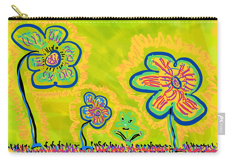 Spring Carry-all Pouch featuring the drawing Looking for Spring by Pam Roth O'Mara