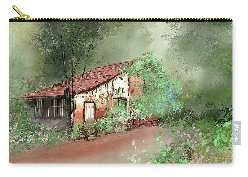 Nature Carry-all Pouch featuring the painting Lost In Fog by Anil Nene