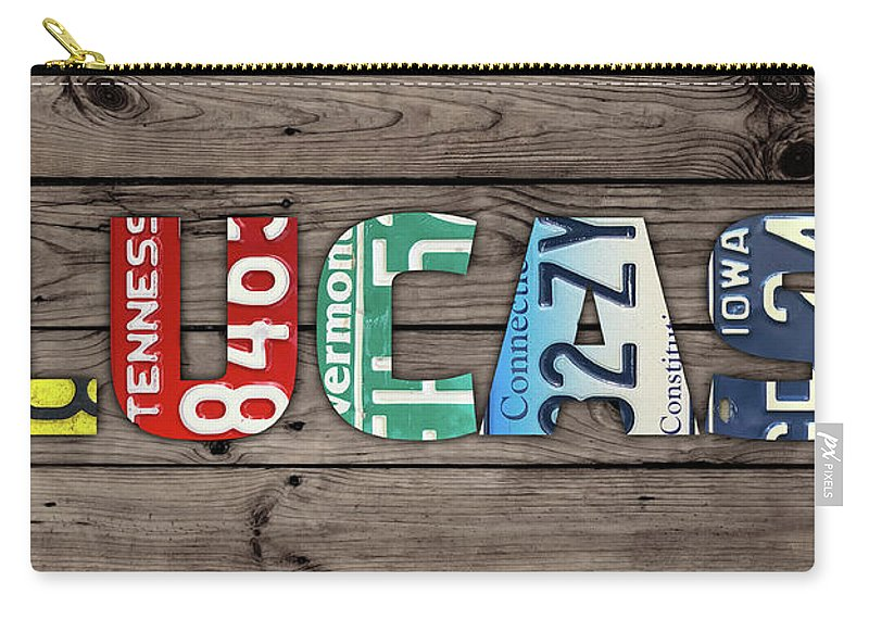 Lucas Carry-all Pouch featuring the mixed media Lucas Name Vintage License Plate Art Lettering Sign by Design Turnpike