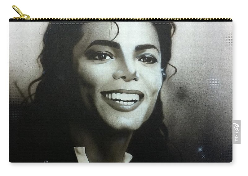 Michael Jackson Carry-all Pouch featuring the painting M. J. by Christian Chapman Art