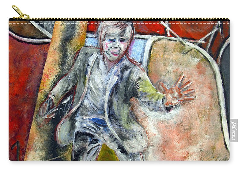 Male Carry-all Pouch featuring the painting Mad World by Tom Conway