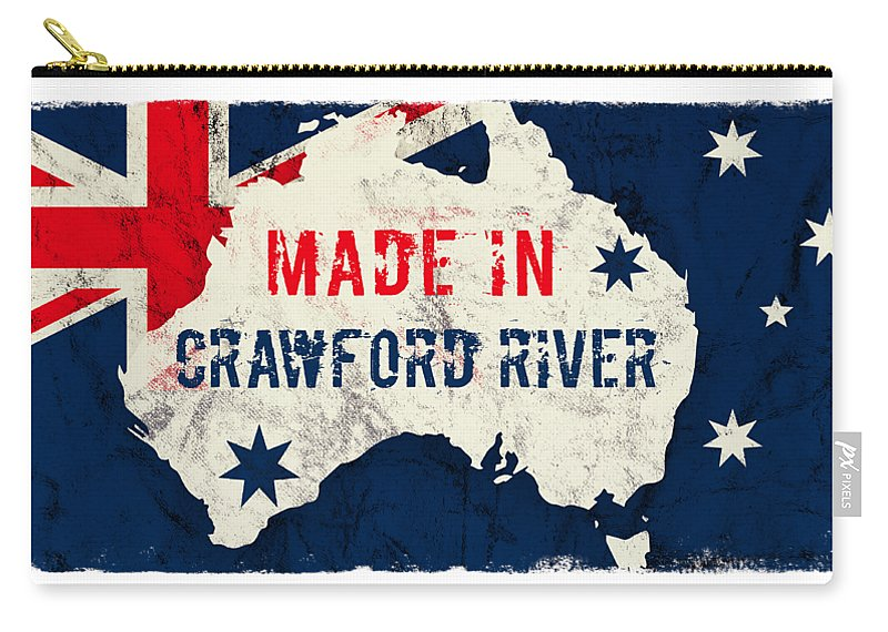 Crawford River Carry-all Pouch featuring the digital art Made In Crawford River, Australia #crawfordriver #australia by TintoDesigns