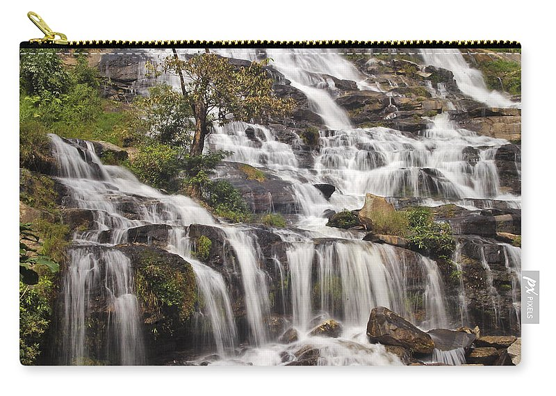 3scape Carry-all Pouch featuring the photograph Mae Ya Waterfall by Adam Romanowicz