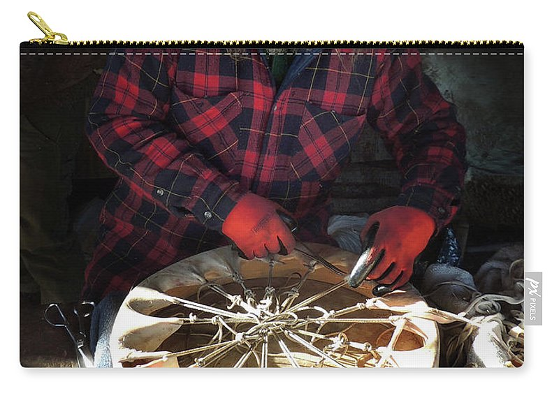 Native American Carry-all Pouch featuring the photograph Making of a Ring Drum by Nancy Griswold