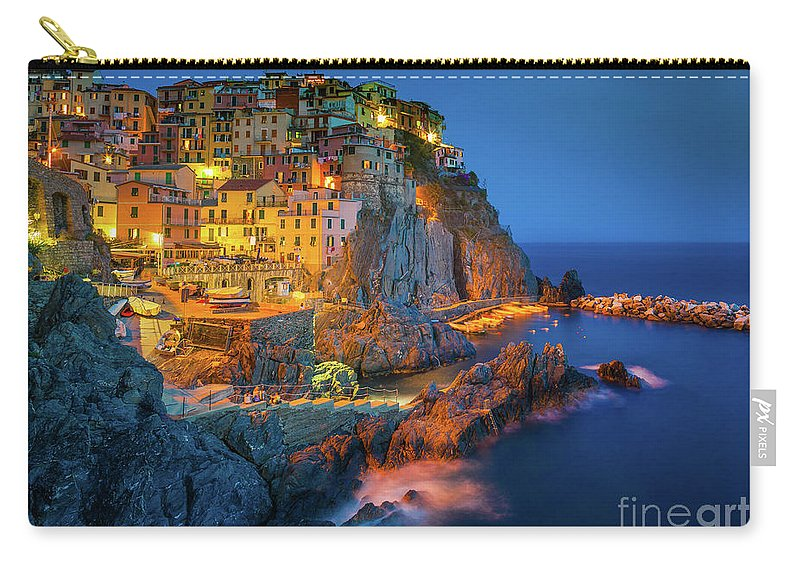 Cinque Terre Carry-all Pouch featuring the photograph Manarola by night by Inge Johnsson