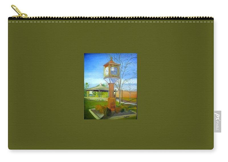Maple Shade Carry-all Pouch featuring the painting Maple Shade Clock by Sheila Mashaw