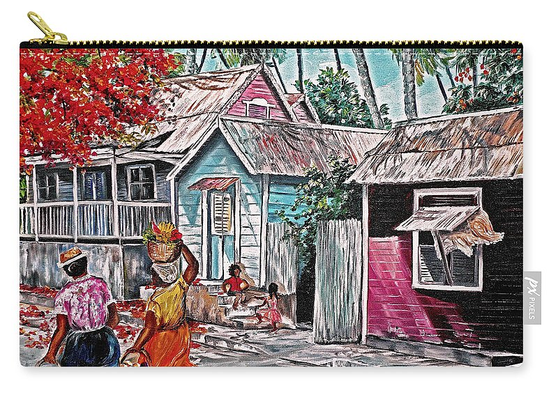 Market Women Painting Barbados Painting Islands Painting  Poinciana Painting Houses Painting Poinciana Painting Caribbean Painting Tropical Painting Carry-all Pouch featuring the painting Marketday Barbados by Karin Dawn Kelshall- Best
