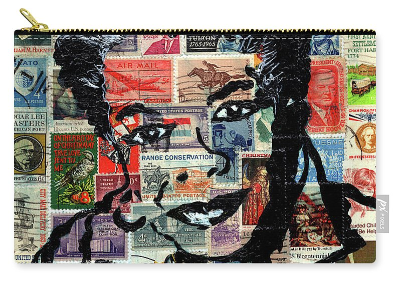 African Mask Carry-all Pouch featuring the mixed media Maya Angelou by Everett Spruill