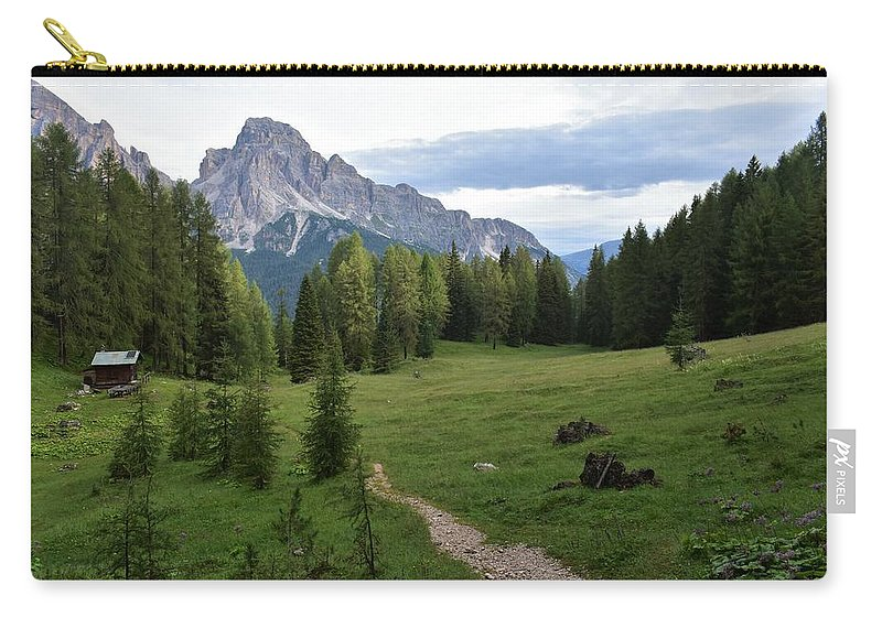 Dolomites Carry-all Pouch featuring the photograph Meadow in the dolomites by Luca Lautenschlaeger