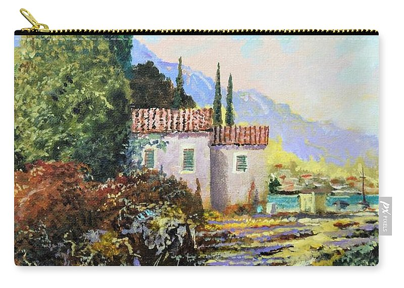 Original Painting Carry-all Pouch featuring the painting Mediterraneo 2 by Sinisa Saratlic