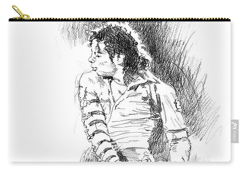 Michael Jackson Carry-all Pouch featuring the drawing Michael Jackson - Onstage by David Lloyd Glover