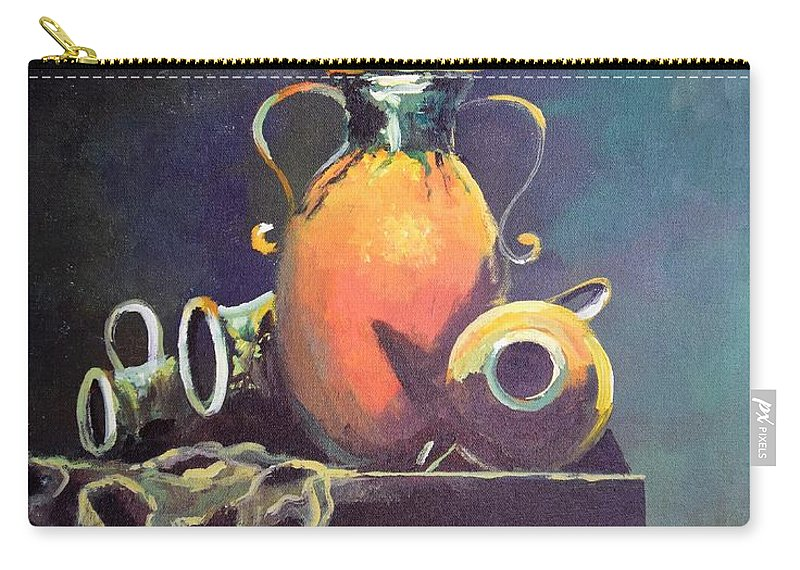 Still Life Carry-all Pouch featuring the painting Midnight Moon by Sinisa Saratlic
