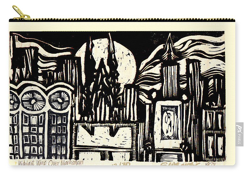 Bizarre Carry-all Pouch featuring the mixed media Midnight Wind Over Manhattan by Seth Weaver