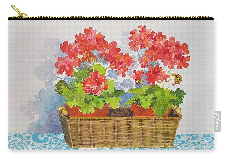 Geranium Carry-all Pouch featuring the painting Mimi's Basket by Mary Ellen Mueller Legault