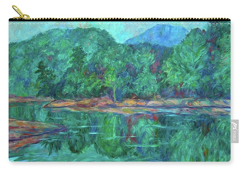 Landscape Carry-all Pouch featuring the painting Misty Morning at Carvins Cove by Kendall Kessler