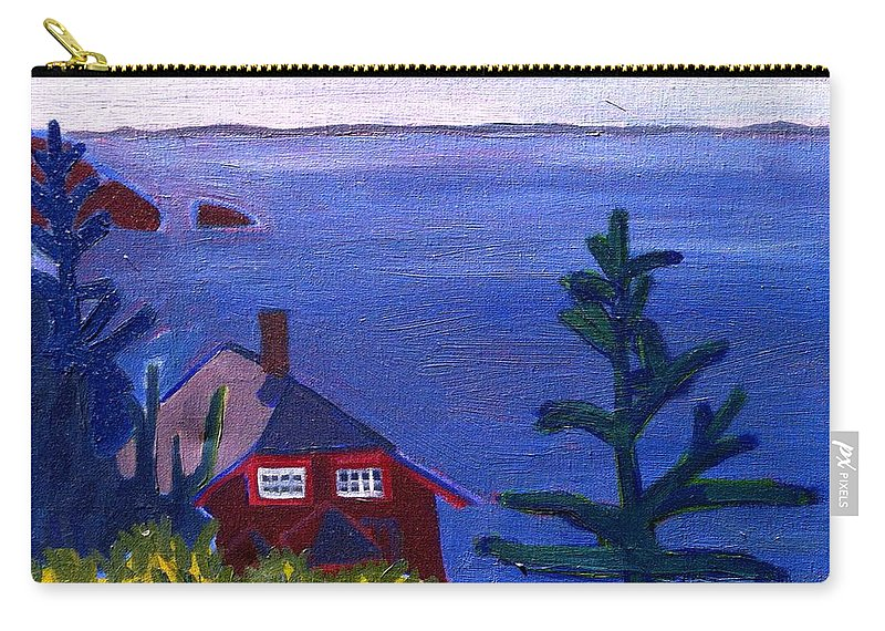 Beach Carry-all Pouch featuring the painting Monhegan Late Afternoon by Debra Bretton Robinson