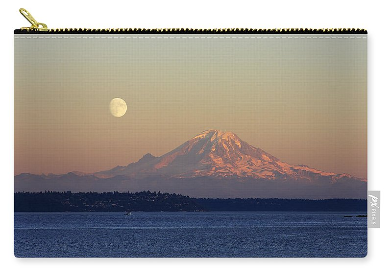 3scape Carry-all Pouch featuring the photograph Moon Over Rainier by Adam Romanowicz