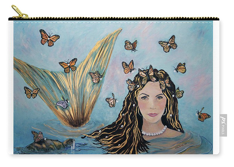 Mermaid Carry-all Pouch featuring the painting More Precious Than Gold by Linda Queally