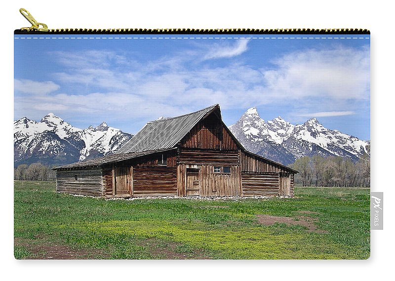 Teton Carry-all Pouch featuring the photograph Mormon Barn Tetons by Douglas Barnett