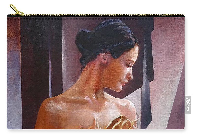 Female Figure Carry-all Pouch featuring the painting Morning Beauty by Sinisa Saratlic