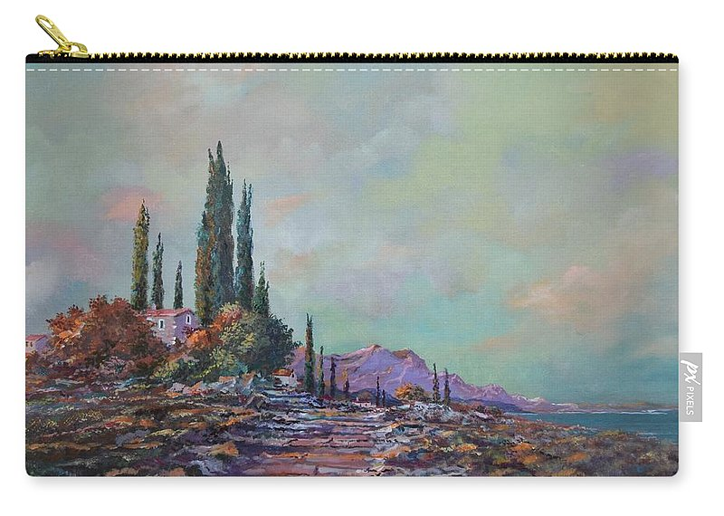 Seascape Carry-all Pouch featuring the painting Morning Mist by Sinisa Saratlic