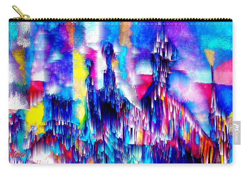 City Lights Carry-all Pouch featuring the mixed media Music of the City by Seth Weaver