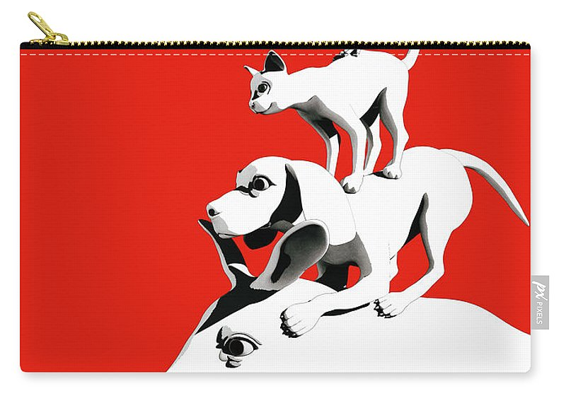 Donkey Carry-all Pouch featuring the digital art Musicians of Bremen_red by Heike Remy