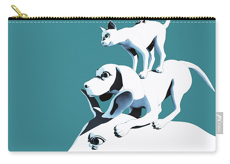 Donkey Carry-all Pouch featuring the digital art Musicians of Bremen_teal by Heike Remy