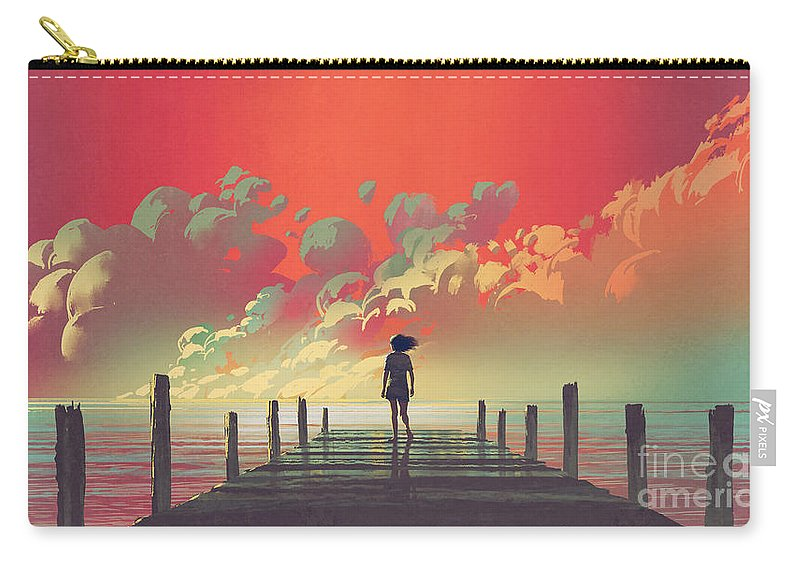 Illustration Carry-all Pouch featuring the painting My Dream Place by Tithi Luadthong
